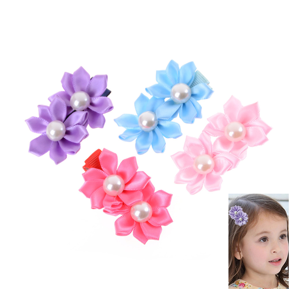 3pcs Fashion Girls Two Flowers Pearls Hairpins Kids Hair Clip Christmas Barrettes Hairpins Accessories Color Random
