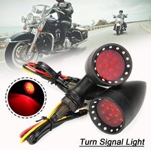 1Pair Red Yellow Led 12V Universal Motorcycle Lamps Blinker Flash Lamp Bullet Shape Motorbike Bullet Turn Signal Indicator Light