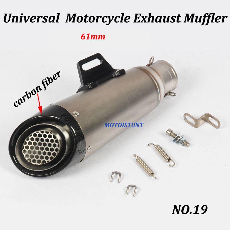 Image 5 - 51mm 61mm Universal Motorcycle Exhaust Muffler Modified With S C Laser Marking Carbon fiber+stainless steel For S1000RR R6 Z250-in Exhaust & Exhaust Systems from Automobiles & Motorcycles