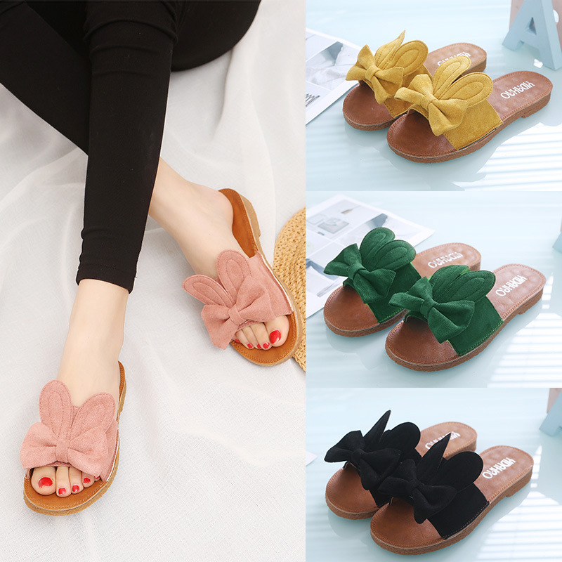 2018 new Korean version of the butterfly knot one word drag flat bottom anti-skid slippers womens Shoes2018 new Korean version of the butterfly knot one word drag flat bottom anti-skid slippers womens Shoes