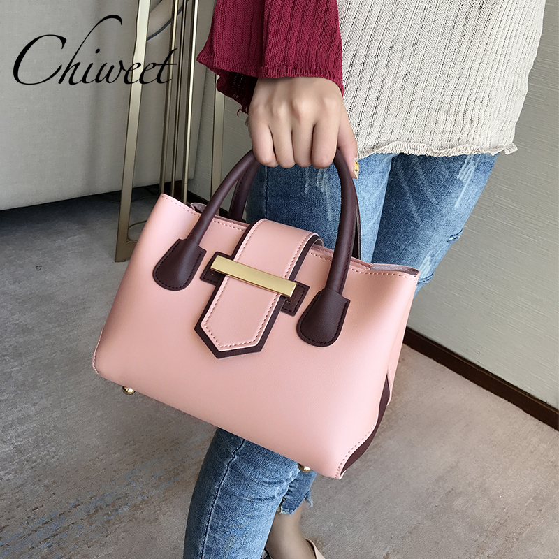 Brand Casual Large Pink Tote Bag For Women PU Leather Handbags Square Ladies Hand Bags Designer Panelled Messenger Shoulder Bag caker brand women large pu casual totes lady patchwork handbags vintage shoulder bags female panelled jumbo messenger bags