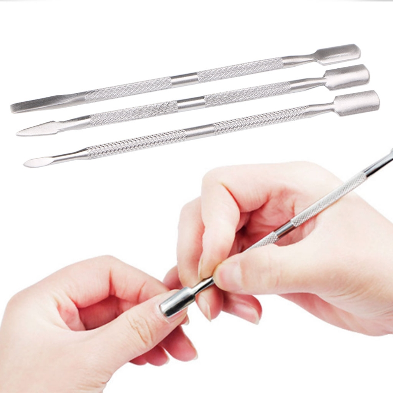 Stainless Steel Dual End Nail Art Cuticle Pusher UV Gel Polish Trimmer Remove Clean Hangnail Acrylic Nail Beauty Care Tools