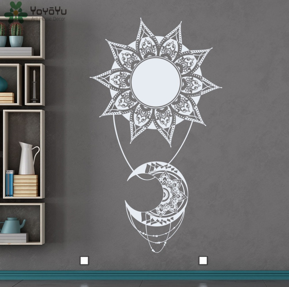 Bohemian sun moon vinyl wall decal indian style mandala for Deco mural stickers