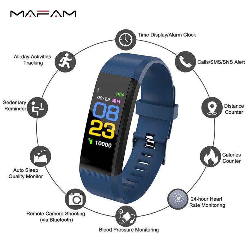 MAFAM Smart Watch Men Clock Blood Pressure Heart Rate Monitor Fitness Tracker Sm