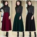 Женщины осень зима юбка высокой эластичный пояс старинные женский утолщаются шерстяные платье-линии длинная юбка дамы сплошной цвет подол юбки LQ033