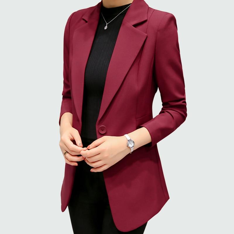 Wine Red Black Women Blazers And Jackets 2018 New Spring Autumn Fashion Single Button Blazer Femenino Ladies Blazer Female 1