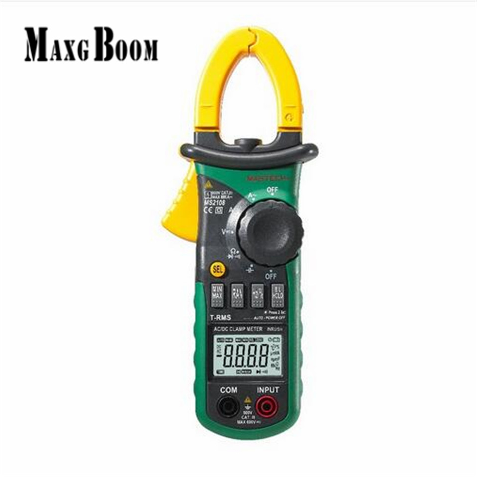 MaxgBoon Mastech MS2108 Digital Clamp Meter True RMS LCD Multimeter AC DC Voltmeter Ammeter Ohm Herz. Duty Cycle Multi Tester