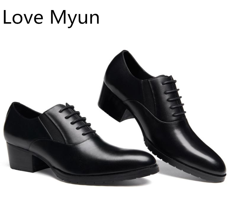 Genuine leather oxfords men shoes high heels round toe lace mens wedding dress shoes 5CM height increase career work dance shoesGenuine leather oxfords men shoes high heels round toe lace mens wedding dress shoes 5CM height increase career work dance shoes