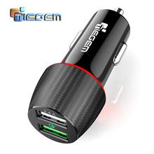 TIEGEM Quick Charge 3.0 Dual USB Car Charger 30W Universal Travel Car-Charger Mobile Phone Charger Adapter for iPhone X Samsung(China)