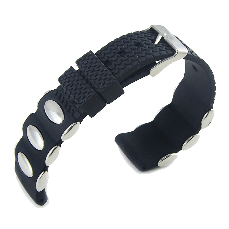 Hot Rubber Watch Bands Strap 20mm 22mm 24mm Stainless Steel Pin Buckle Silicone Watchband Black Color Link Bracelet Wrist Strap цена и фото