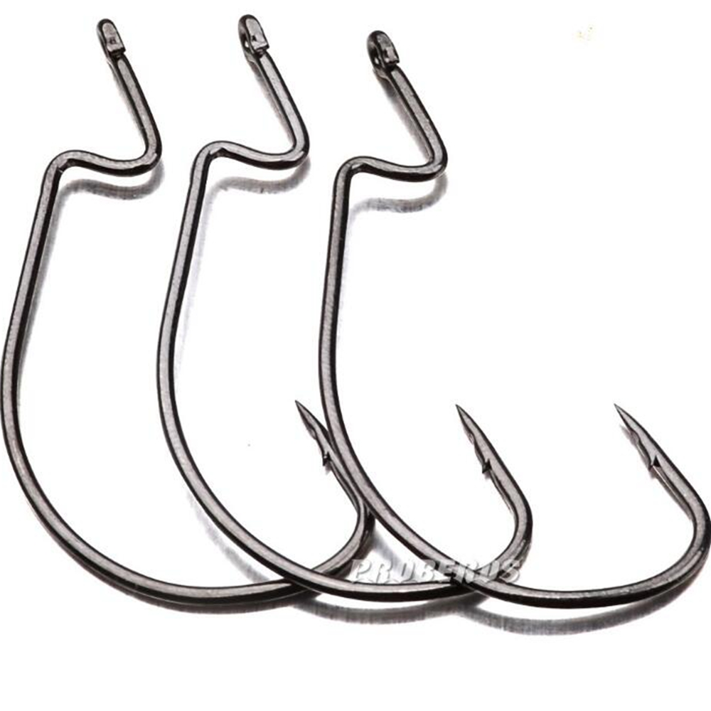 10pcs Fishing Gear Soft Bug High Steel Carbon Bass Barbed Hooks Wide Crank 5/0 # -1/0 #  Fishing Hook For Fish New Tackle Tools