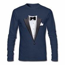 Long Sleeve Tees Shirt Tuxedo Costume Bow Tie Round Collar Boys Fashion 2017 Tops & Tees Men's Funny T Shirts