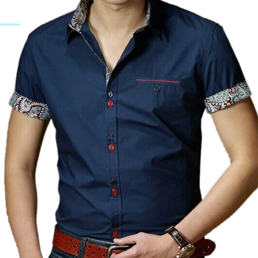 Plus size new 2015 summer men dress shirts cotton short for Mens dress shirts sizes