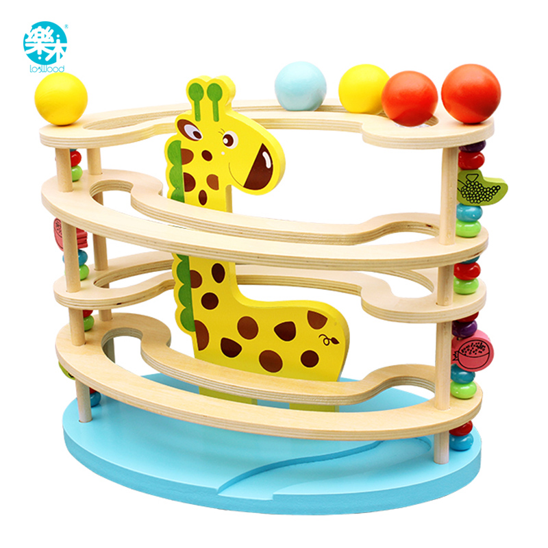 Baby Toy Wooden block ball track Chopping Block Table Game baby Educational Animal Model ball park