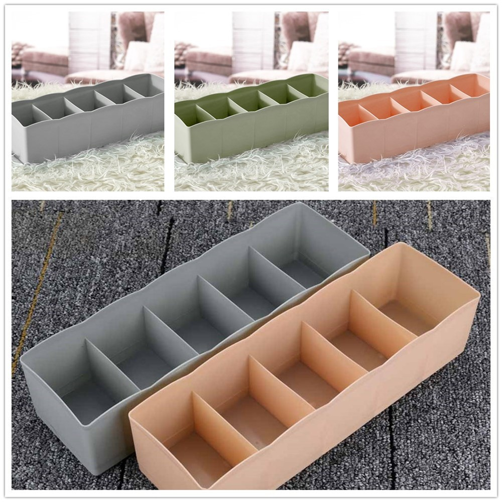 5 Cells Plastic Organizer Storage Box Tie Bra Socks Drawer Cosmetic Divider Tidy Jewelry Socks Bra Organization Drawer Clothes