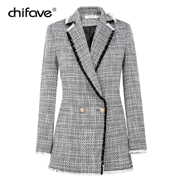 2018 Fashion chifave Autumn Plaid Tweed White Blazer Women Vintage Small Fragrant Long Coat Women's Jacket Office Lady Plus Size