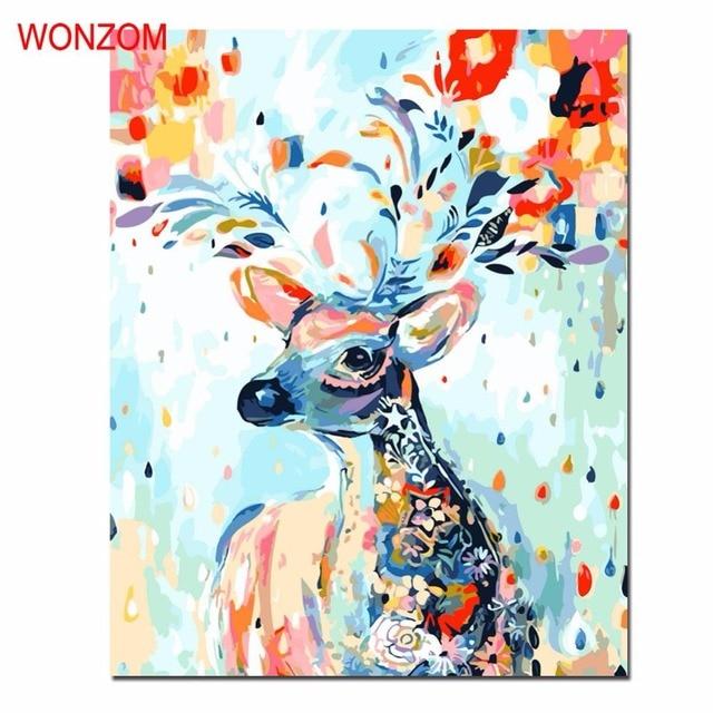 Deer ölgemälde Durch Zahlen Diy Färbung Wandbilder Für Wohnzimmer