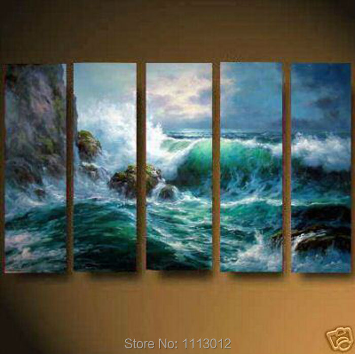 High Quality Waves Rock Seascape Oil Painting On Canvas 5 Pcs Sets Wall Art Picture For Living Room Home Decoration Modern Sale