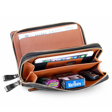 Men's Genuine Leather Glossy Furface Business Clutch Bag Handbag Wallet Checkbook Card Case Holder Organizer Bag NEW Brown S8287