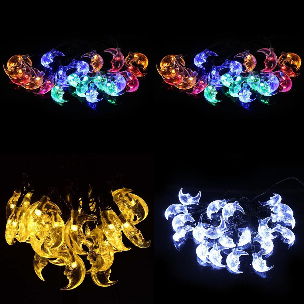 1pc Hot Sale Waterproof 20 LED Moon Solar Fairy String Lamp Lovely Christmas Wedding Party Garden Holiday Decor Lighting Fashion