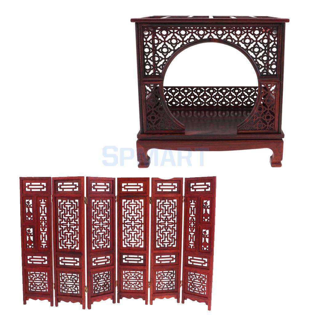 Retro Style 1 6 Miniature Rosewood Chinese Bed Folding Screen Furniture for Dollhouse for Blythe 12inch