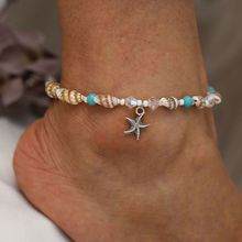 New Conch Shell Foot Chain Anklets for Women Beach Starfish Pendant Crystal Bead Anklet Bracelets Jewelry