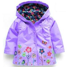 New Baby Boys Girls Raincoat Jacket Kids Autumn Toddler hooded flower pattern Waterproof Coat Children Casual Outwear
