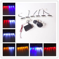 1PCS Grills 6 X 3 LED Blue Red Amber White Emergency Police Fireman Flashing Warning Car