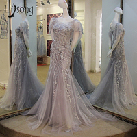 Vintage Embroidery Mermaid Lace Evening Dresses Short Sleeves Lace Long Evening Gowns Crystal Middle East Formal Pary Dress