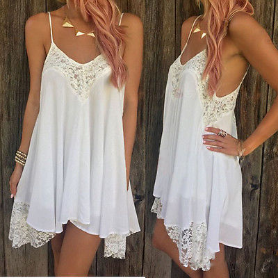 f905abf7695 Fashion Sexy Womens Summer Sleeveless Lace Crochet White Sundress Short  Mini Dress UK 6 20-in Dresses from Women's Clothing on Aliexpress.com |  Alibaba ...