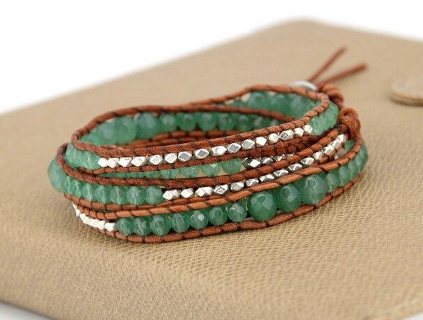 Высококачественный Градуированный авантюрин старинные серебряные бусы кожаный браслет винтажный плетеный браслет ручной работы