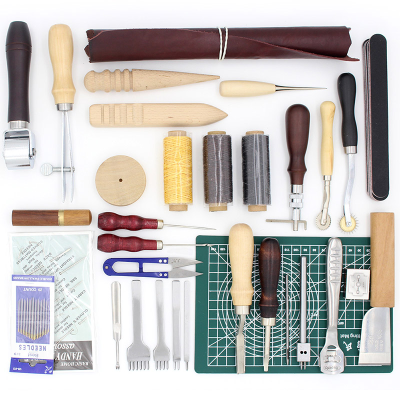 32 Pcs Set Leather Tools Craft Kit Hand Tools for Hand Sewing Stitching Stamping Set and