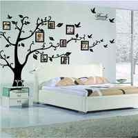 Envío Gratis: Large 250*180 cm Negro 3D DIY Foto Tree PVC Wall Stickers/Adhesivo Pared de la Familia pegatinas Arte Mural Decoración Para El Hogar