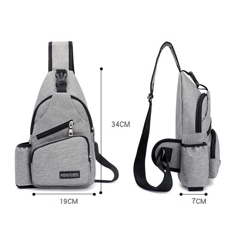 Повседневное Для мужчин холст груди рюкзак с USB одноцветное Мужской груди Back Pack маленькая сумка через плечо сумки слинг один человек сумка PT1279