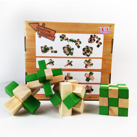 Wooden 4pcs Fidget Cube Set Adult Office Anti Stress Dice Puzzle Rubiks Cube EDC Finger Toy