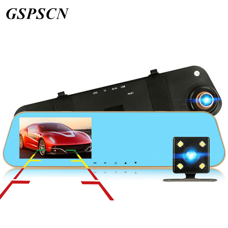 GSPSCN Car 4.3 Inch Blue Review Mirror DVRs Digital Video Recorder Dual Lens Dash Cam Registratory Camcorder Full HD 1080P image