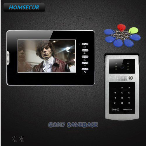 HOMSECUR 7 Video Door Phone Intercom System with Keyfobs Password Keypad for House/ Flat