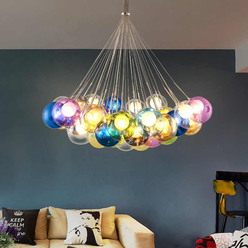 Modern Brief Glass Pendant Lamp Home Deco Personalized Living Room Child Colour Bubble DIY combination LED G4 lighting