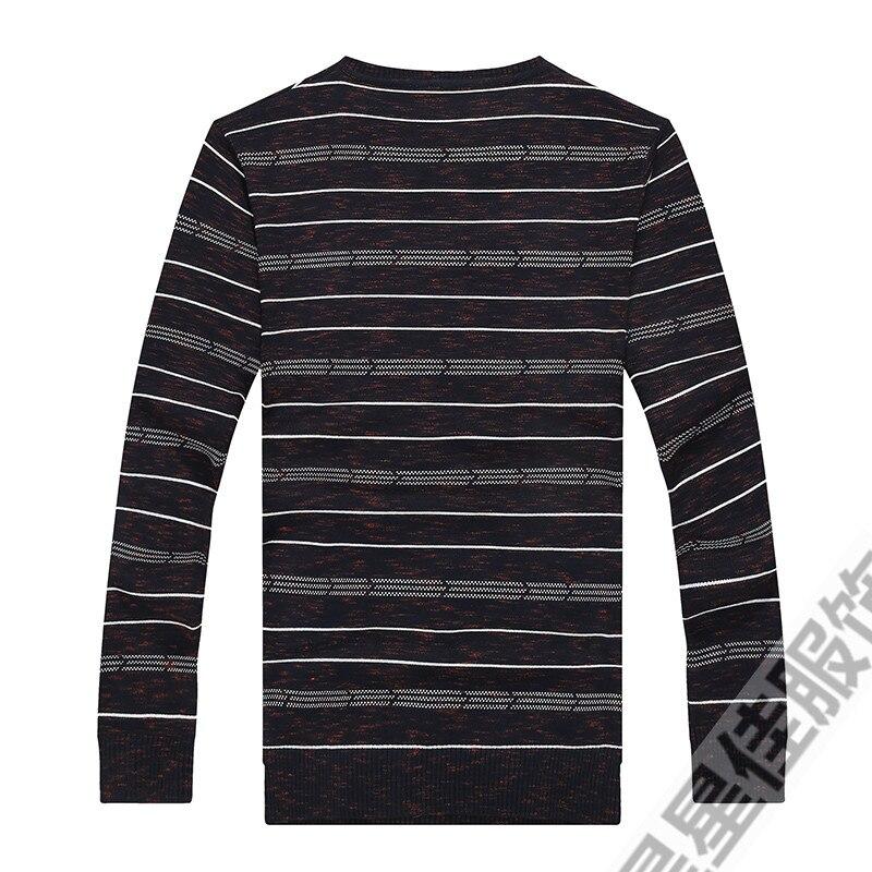 Плюс 8XL 6XL 5XL новый осенний модный мужской пуловер Свитера с длинным рукавом v образным вырезом полосатый вязаный кашемировый Рождественский свитер для мужчин - 3