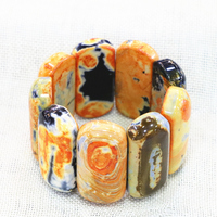 Charms 4 Colors Bracelet & Bangle Natural Fire Agates Stone Onyx 23x42mm Geometry Manual Rectangle Beads Diy Gift 7.5inch B3267