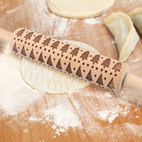 Christmas Embossing Rolling Pin Baking Cookies Noodle Biscuit Fondant Cake Dough Engraved Roller Kitchen Tool