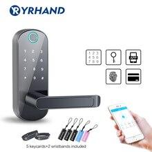 Cerradura TT biométrica Bluetooth sin llave, cerradura de puerta con huella dactilar, cerradura electrónica a prueba de agua, WiFi, aplicación, teclado de código inteligente