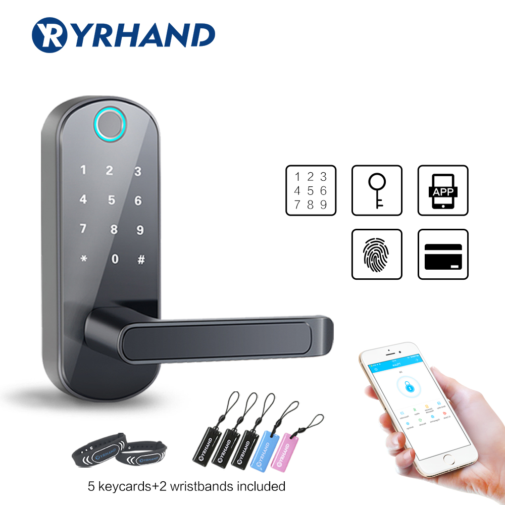 TT Lock Keyless Bluetooth Biometric Fingerprint Door Lock  Waterproof Electronic Door Lock  WiFi App Smart Code Keypad Door Lock