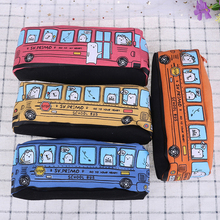 Kawaii Creative School Bus Pencil Case Large Capacity Cartoon Animal Canvas Bag Box Supplies