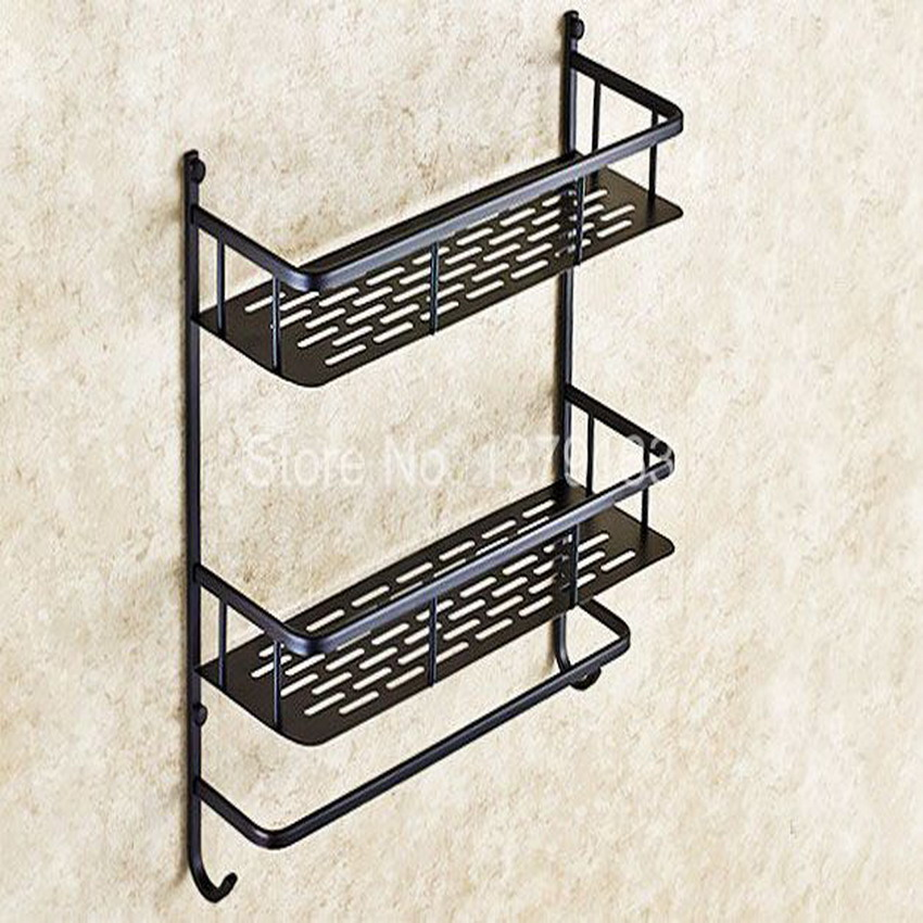 Black Oil Rubbed Brass Bathroom Accessory Dual Tier Shower Soap / Sponge Tray Caddy Basket Wire Storage Rack Wall Mounted aba526 bathroom accessory wall mounted 2 tier triangular shower caddy shelf bathroom corner rack storage basket hanger wba076