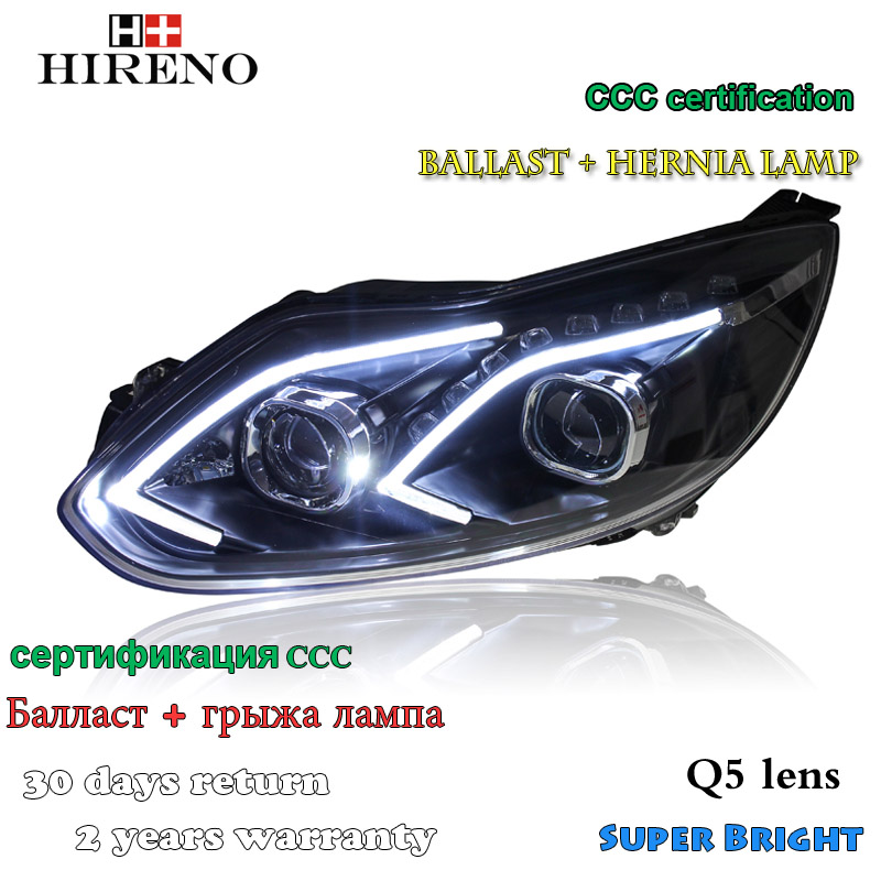 Hireno Headlamp for 2012-2014 Ford Focus Headlight Assembly LED DRL Angel Lens Double Beam HID Xenon 2pcs 2pcs purple blue red green led demon eyes for bixenon projector lens hella5 q5 2 5inch and 3 0inch headlight angel devil demon