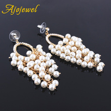 ФОТО ajojewel luxury simulated pearl earrings gold plated long tassel earrings for women wedding jewelry party bijoux fine gift