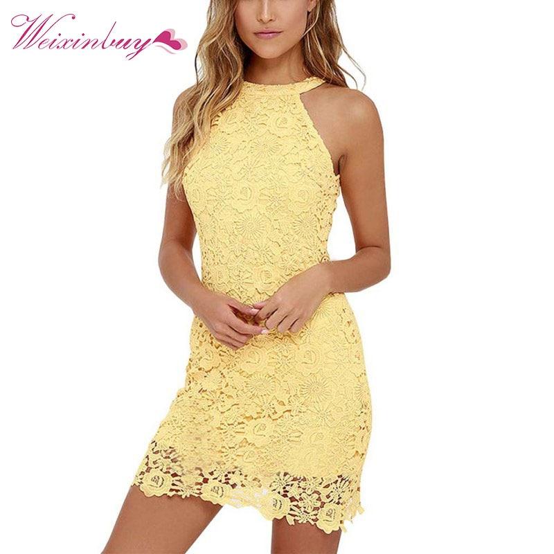 US $10.5 27% OFF WEIXINBUY Women Elegant Lace Embroidery Halter Neck White  Dress Slim Retro Lady Wedding Party Night Club Dresses Plus Size S 5XL-in  ...