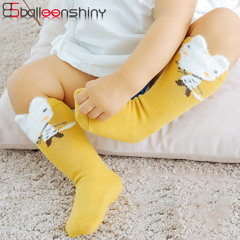 BalleenShiny 3 Pairs Cartoon Long Socks Newborn Baby Warm Cute Cotton Knee-high Sock Child Kids Rabbit Ears Sock Hot Sale Autumn