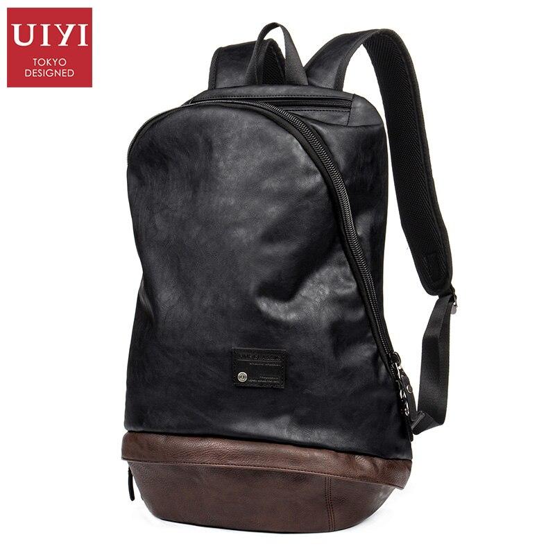 UIYI fashion Men PU leather Backpack black Travel Bags Classic Male laptop Backbag For girls boy school bag #UYB16025 male classic microfiber leather backpack